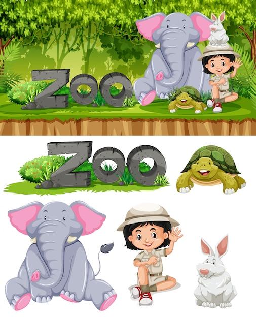 Safari fille et animaux de zoo Vecteur Premium