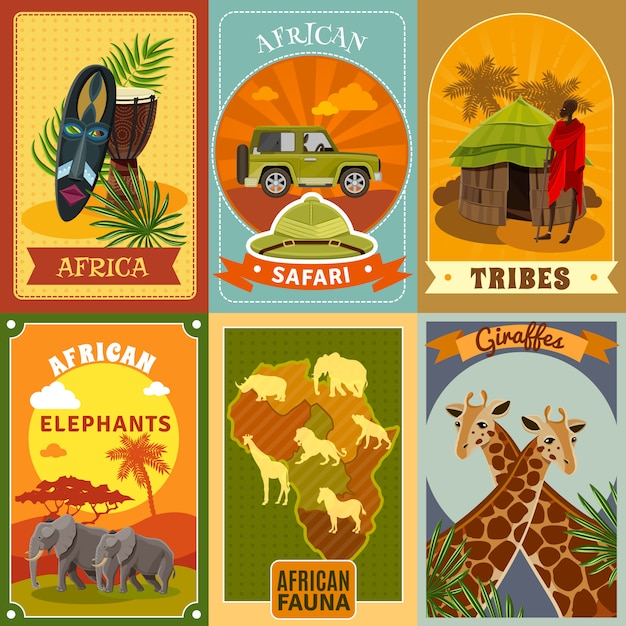 Safari Posters Set Vecteur gratuit