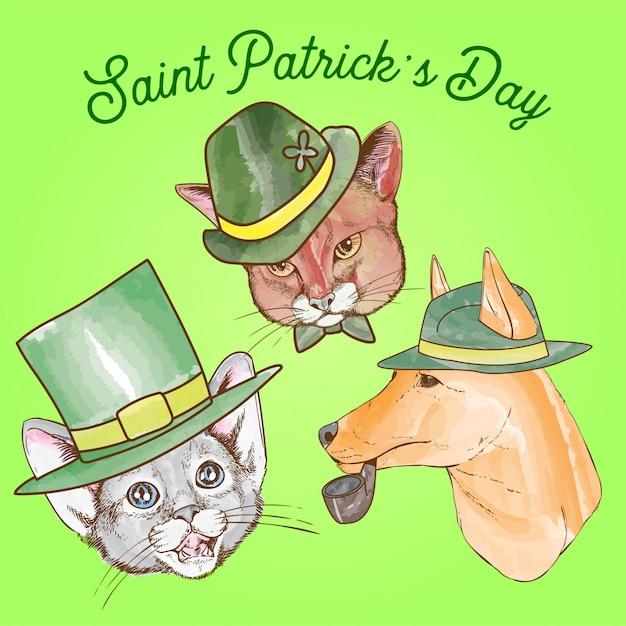Saint patrick day chien et chat Vecteur Premium