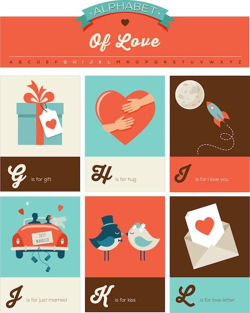 Saint Valentin Et Amour, Alphabet Avec Messages Romantiques Vecteur Premium