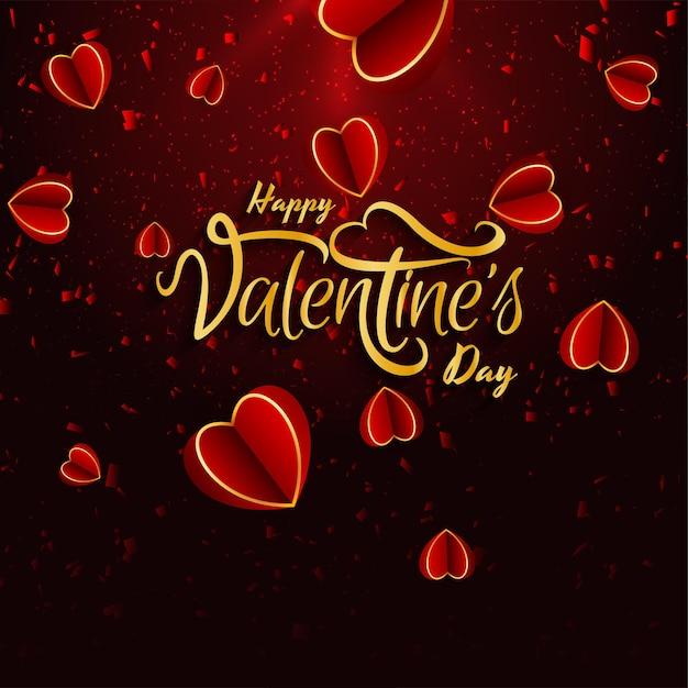 Saint Valentin Belle Avec Des Coeurs Vecteur gratuit