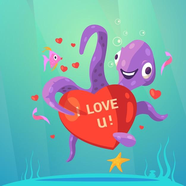 Saint valentin cartoon rétro avec poulpe mignon avec coeur rouge Vecteur gratuit