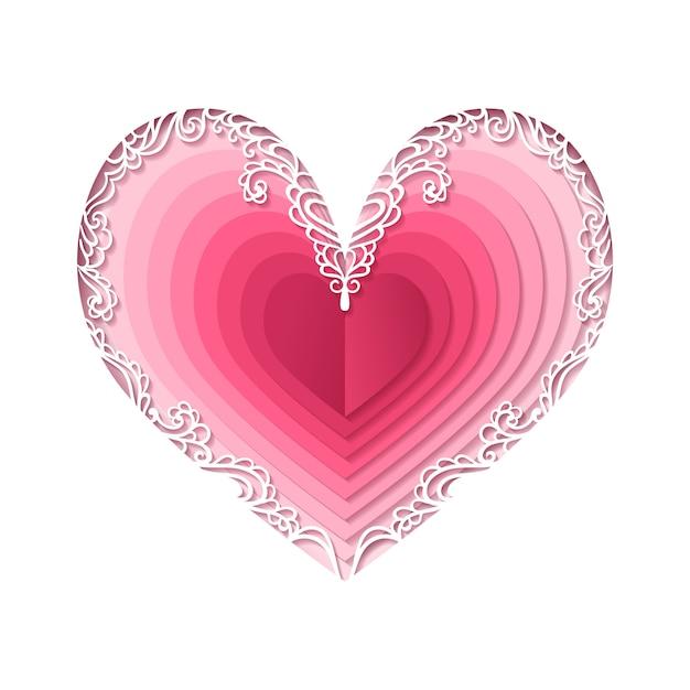 Saint valentin, coeur abstrait. Vecteur Premium