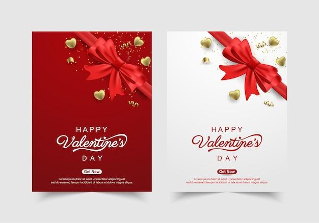 Saint Valentin Avec Des Coeurs En Or Vecteur Premium