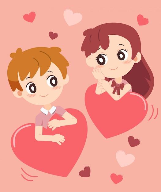 Saint valentin avec couple amoureux set 3 Vecteur Premium