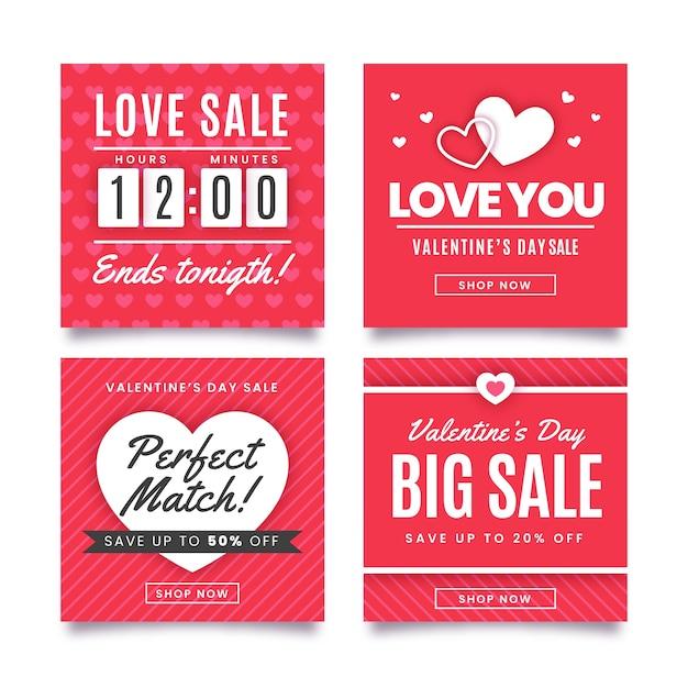 Saint Valentin Rouge Vente Instagram Post Collection Vecteur gratuit