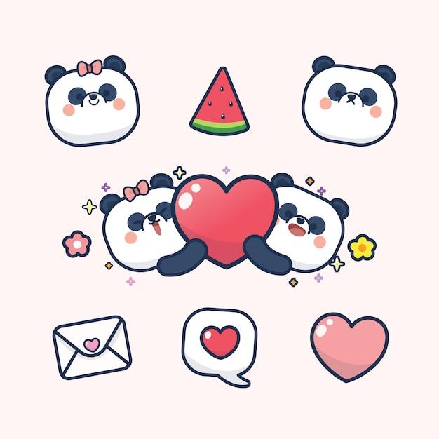 Saint Valentin Sertie De Panda Mignon Avec Coeur Doux, Avec Amour Vous Carte De Voeux Sticker Vecteur Premium