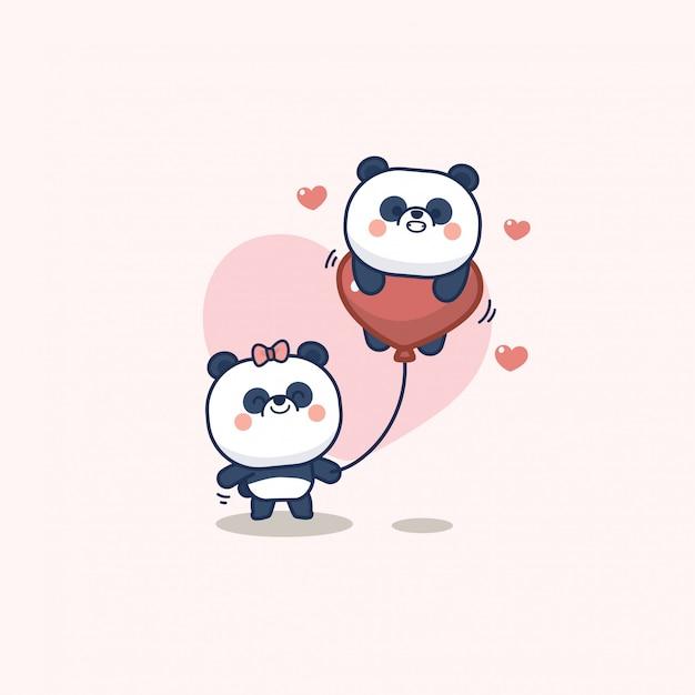 Saint Valentin Sertie De Panda Mignon Avec Coeur Doux, Avec Amour Vous Carte De Voeux Vecteur Premium