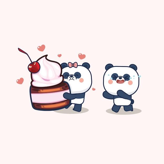 Saint Valentin Sertie De Panda Mignon Vecteur Premium