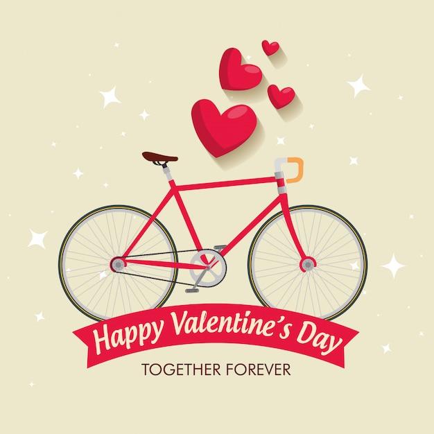 Saint valentin à vélo Vecteur gratuit