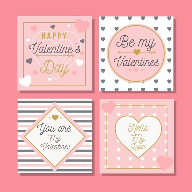Saint valentin vente instagram post collection Vecteur gratuit