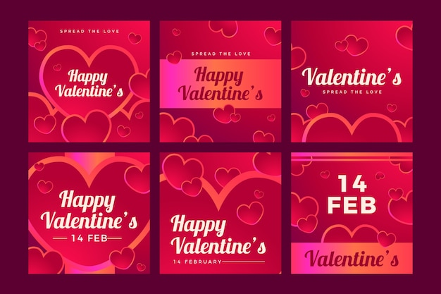 Saint-valentin vente instagram post collection Vecteur gratuit