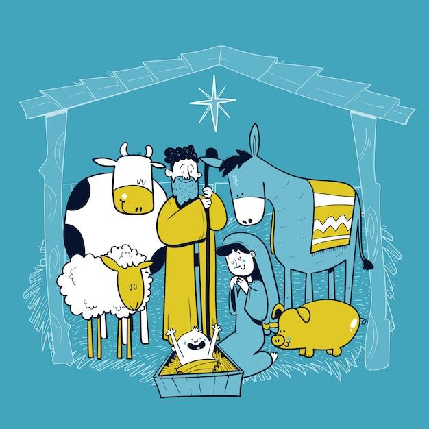 Sainte crèche familiale avec des animaux. carte de joyeux noel. pesebre. illustration vectorielle Vecteur Premium
