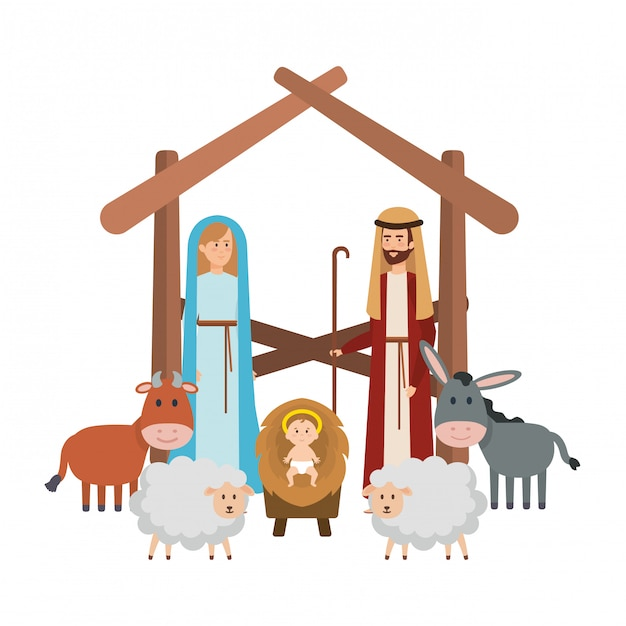 Sainte famille avec des animaux crèche personnages Vecteur Premium