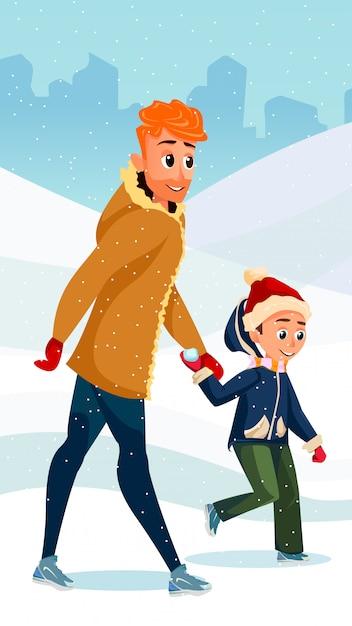 Saison d'hiver dessin animé père père fils ensemble Vecteur Premium