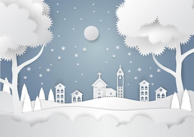 Saison d'hiver avec flocon de neige et père noël en ville. illustration vectorielle de joyeux noël Vecteur Premium