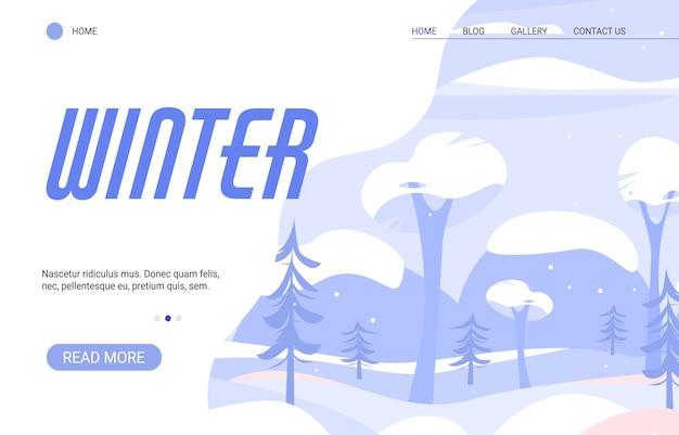Saison D'hiver De La Nature. Paysage D'hiver Avec Des Chutes De Neige, Des Arbres Et Des Montagnes. Vecteur Premium
