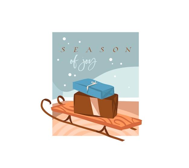 Saison De Joie, Texte De Lettrage. Jolies Illustrations De Traîneau De Noël Et Présente Des Cadeaux Boîte à L'intérieur Isolé Vecteur Premium