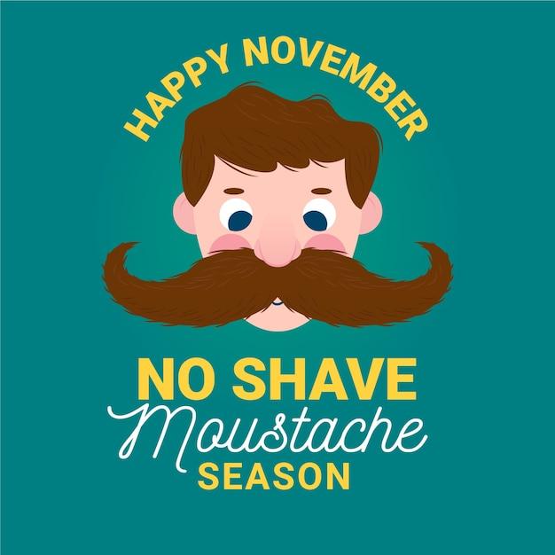 Saison des moustaches sans rasage Vecteur gratuit