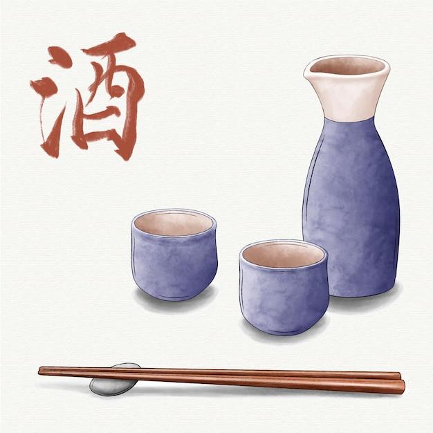 Saké Japonais Aquarelle Violette Et Baguettes Vecteur gratuit