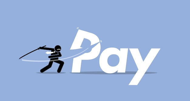 Salaire Réduit Par Homme D'affaires. L'illustration Représente Une Réduction De Salaire, Une Réduction De Bonus, Moins De Masse Salariale. Vecteur Premium