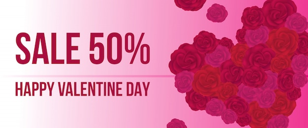 Sale, happy valentine day lettrage avec coeur de roses Vecteur gratuit