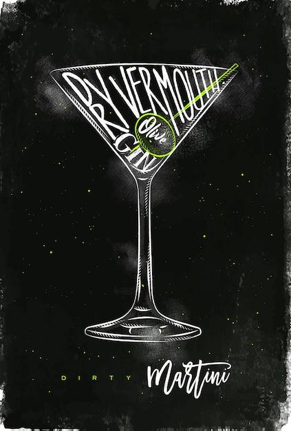 Sale Martini Cocktail Lettrage Vermouth Sec, Gin, Olive Dans Un Style Graphique Vintage Dessin à La Craie Et Couleur Sur Fond De Tableau Vecteur Premium