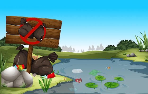 Sale poubelle au bord de l'étang Vecteur gratuit