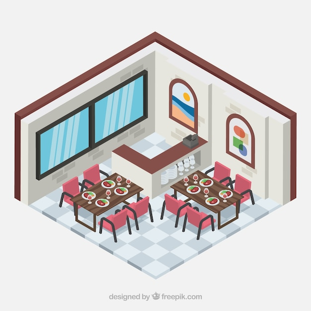 Salle manger du restaurant avec perspective isom trique for Salle a manger vilvoorde restaurant