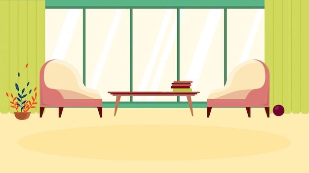 Salle d'attente confortable ou zone de repos confortable avec meubles et large fenêtre Vecteur Premium