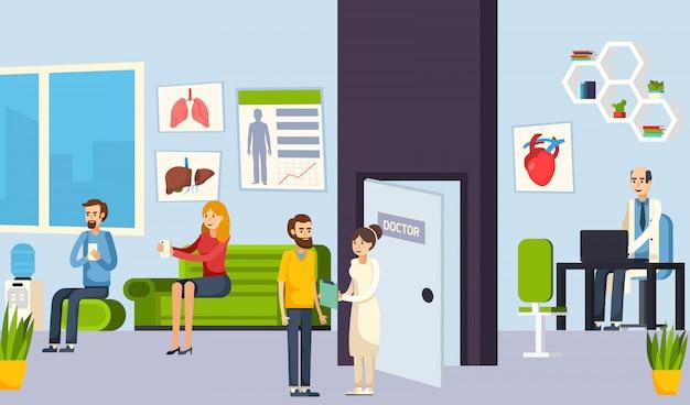 Salle d'attente dans la composition de la clinique Vecteur gratuit