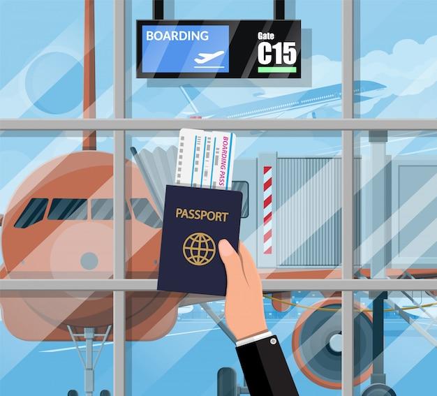 Salle D'attente Dans Le Terminal Passanger De L'aéroport Vecteur Premium