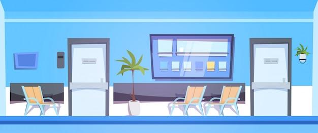Salle d'attente d'hôpital avec les sièges vides intérieur de la clinique Vecteur Premium
