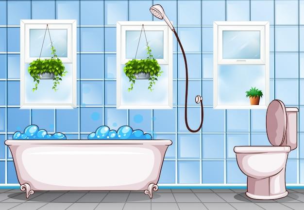 Salle de bain avec baignoire et toilette Vecteur gratuit