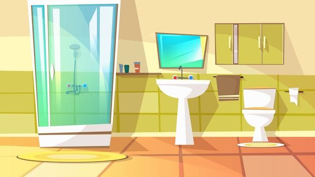 Salle de bain avec cabine de douche illustration de l'intérieur de la maison. toilettes domestiques Vecteur gratuit