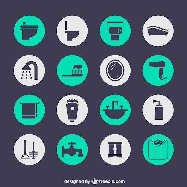 Salle de bains icônes gratuites Vecteur gratuit