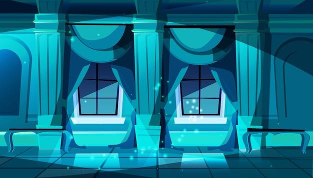 La salle de bal du château sombre avec des fenêtres. hall de danse, de présentation ou de réception royale. Vecteur gratuit