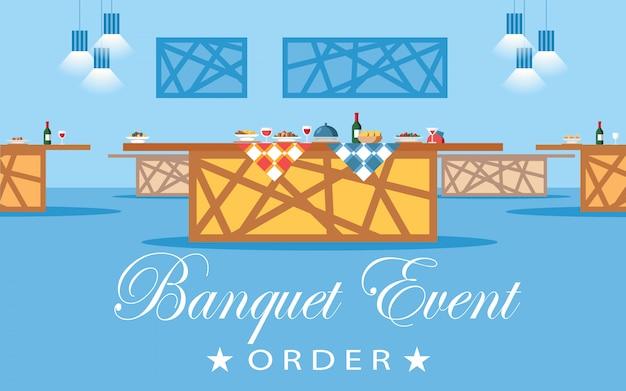 Salle de banquet, illustration vectorielle plane salle Vecteur Premium