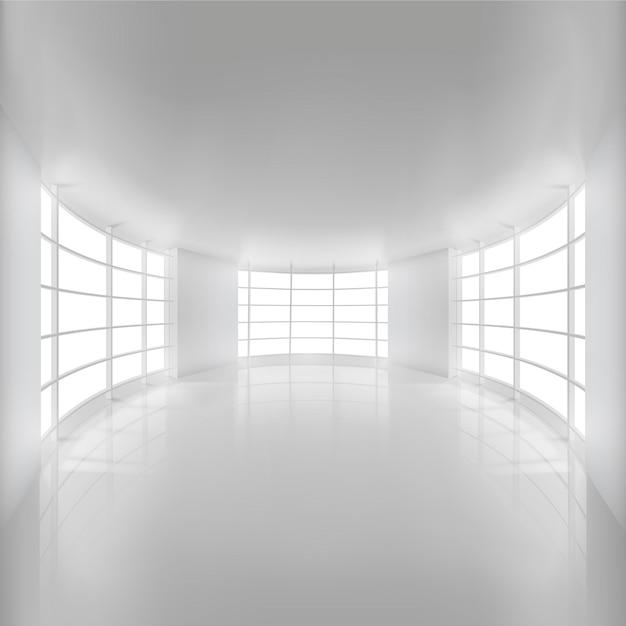 Salle blanche arrondie éclairée par la lumière du soleil pour le fond Vecteur Premium