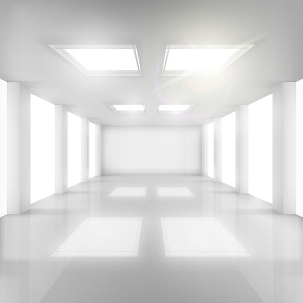 Salle blanche avec fenêtres dans les murs et le plafond. Vecteur Premium