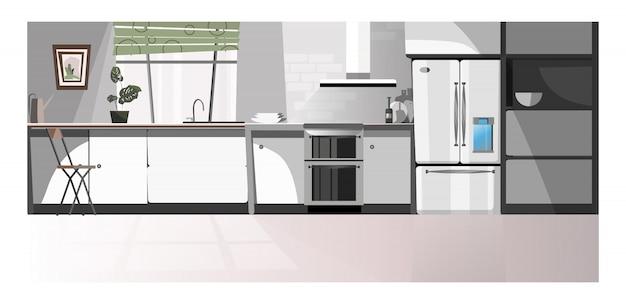 Salle de cuisine moderne avec illustration d'appareils Vecteur gratuit