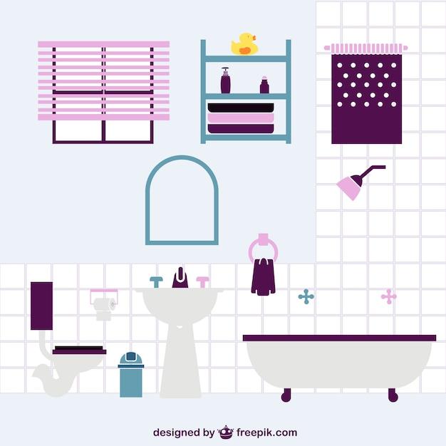 Salle de bains plat de dessin vectoriel t l charger des for Logiciel dessin salle de bain