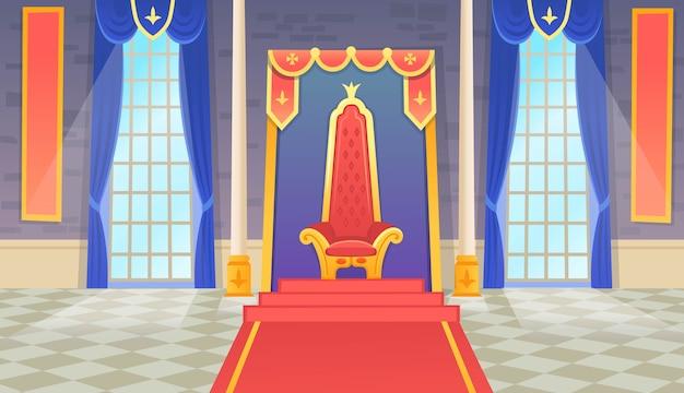 Salle Du Château Avec Un Trône Royal Et Des Fenêtres. Illustration Artoon. Vecteur Premium