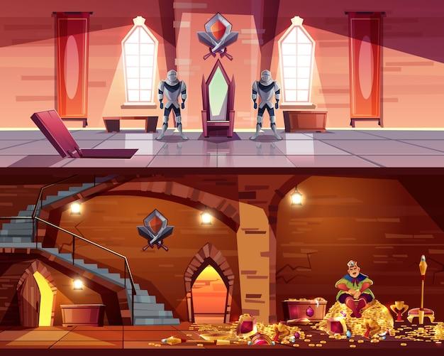 Salle du trône avec trappe à la voûte. cave avec roi sur tas d'or, coffres. Vecteur gratuit