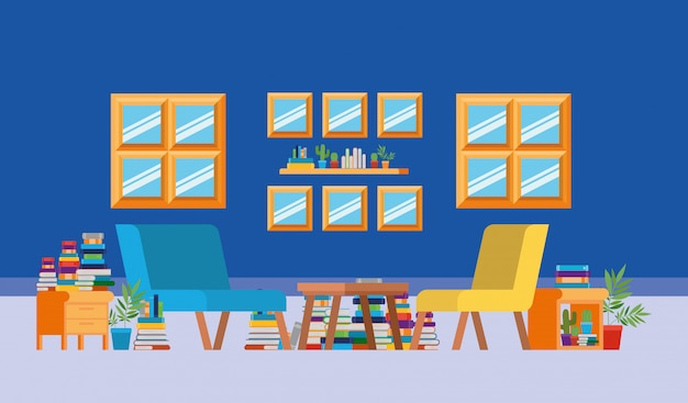 Salle d'étude à domicile avec des livres Vecteur gratuit