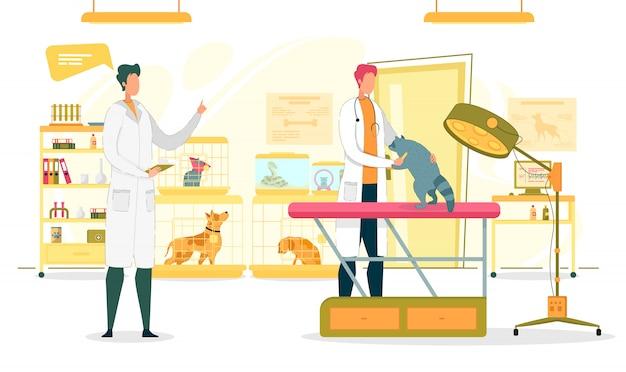 Salle D'examen De La Clinique Vétérinaire Avec Des Médecins. Vecteur Premium