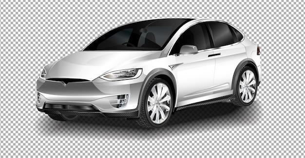 Salle D'exposition. Le Vus Multisegment De Luxe, Tout électrique, De Luxe, Tesla Model X. Vecteur Premium