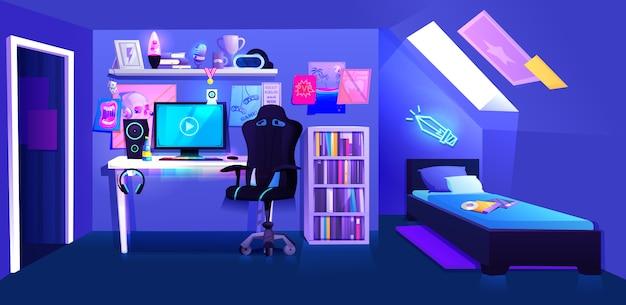 Une salle de gamer garçon sur une banne intérieure de grenier Vecteur Premium