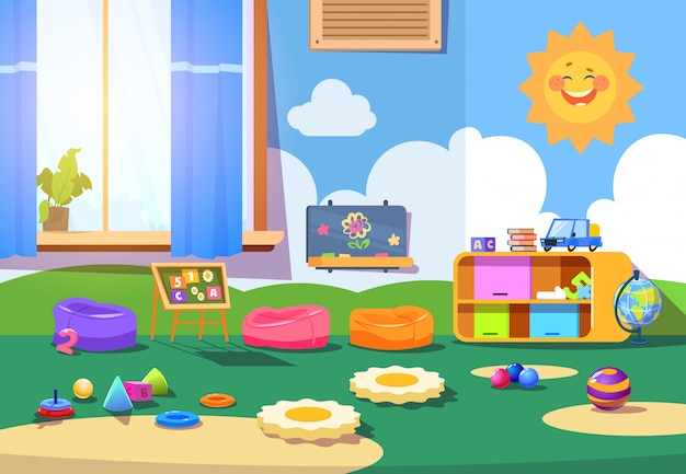 Salle de jardin d'enfants. vide salle de jeux avec des jouets et des meubles. intérieur de bande dessinée pour enfants Vecteur Premium