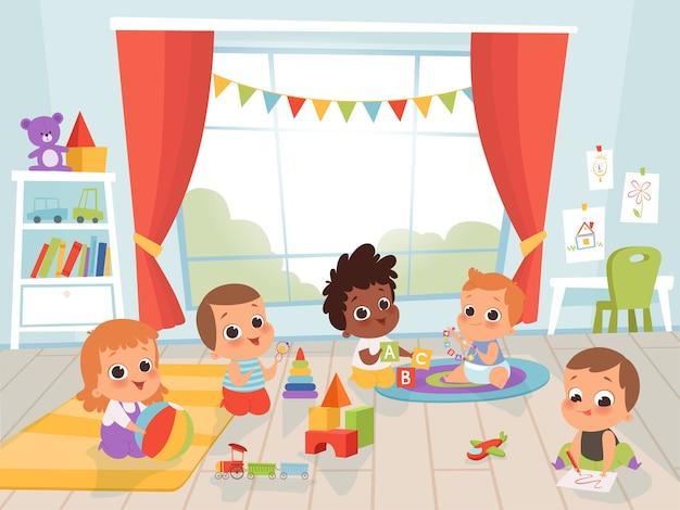 Salle De Jeux Pour Enfants. Petit Nouveau-né Ou Bébé De 1 Ans Avec Des Jouets à L'intérieur Des Personnages Pour Enfants Vecteur Premium